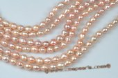 Nps003 Pink Baroque Nucleated Freshwater Pearl Strands, 7-9mm
