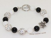 pbr549 Black agate and white jade  bracelet with silver Toned Fitting