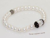 pbr552 Silver-Tone Freshwater Button Pearl Elastic Bracelet