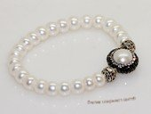 pbr553 Silver-Tone Freshwater Button Pearl Elastic Bracelet
