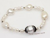 pbr554 extraordinary 10-12mm white nugget pearls stretch bracelets