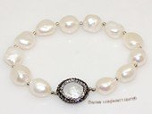 pbr555 extraordinary 10-12mm white nugget pearls stretch bracelets