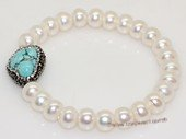 pbr556 Freshwater Pearl and Baroque Turquoise Elastic Bracelet