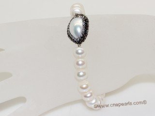 pbr557 Freshwater Pearl and Baroque Pearl Elastic Bracelet