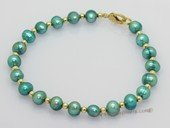 pbr586  Freshwater Potato pearl bracelet with gold tone fitting