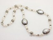pn774 Freshwater Potato Pearl  Necklace With Silver Tone Fitting