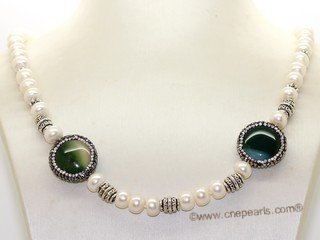 pn776 Freshwater Bread Pearl  Necklace With Agate Gemstone