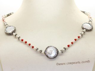 pn778  Freshwater Cultured Pearl Necklace With Coral Bead