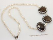 pn780 eye-catching freshwater buttone pearl necklace with big gemstone bead