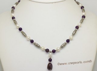 pn788 Freshwater Potato Pearl  Necklace With Amethyst Gemstone