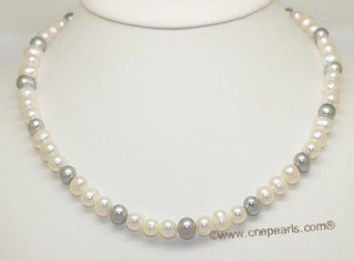 pn792 Single Strand White Color and Grey Color Cultured Potato Pearl Necklace
