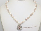 pn793   Hand knot 6-7mm multi-color rice pearl necklace dangling with pendant