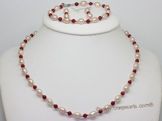 Pnset740 Fashion Freshwater Rice Pearl and Coral Beads Princess Necklace,Bracelt& Earrings