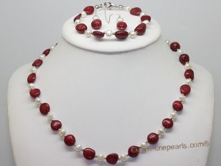 Pnset741 Fashion Freshwater Potato Pearl and Coral Beads Princess Necklace,Bracelt& Earrings