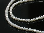Round3-4 wholesale cultured natural white round pearl strands in 3-4mm,from AAA+ to A grades