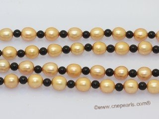 Rpn467 Long Strand Rice Pearl Rope Necklace with Agate Beads