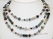 Rpn468 Freshwater Pearl Necklace with Mix Color Potato pearl, Agate & Garnet