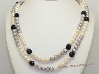 Rpn469 Long Strand Potato Pearl Rope Necklace with Crystal Beads