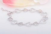 SSB002 Inspired Sterling Silver Cubic Zirconia Linked Heart Bracelet