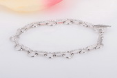 SSB004 Fashion Cubic Zirconia Round Links Bracelet in Sterling Silver