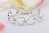 SSB006 Wholesale Sterling Silver Cubic Zirconia Heart Bangle Bracelet