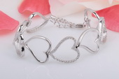 SSB021 Designer Inspired Linked Heart Bracelet in Sterling Silver
