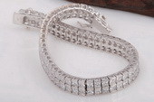 SSB028 Sterling Silver Two Row Brilliant Cubic Zirconia Bracelet