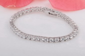 SSB029 Princess Clear Cubic Zirconia Bracelet set in Sterling Silver