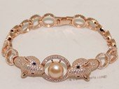SSB141 Sterling Silver Zircon Accented Chain Wrist Bracelet With Freshwater Pearl