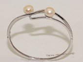 ssb148 Freshwater Pearl Sterling Silver Cuff Bangle Bracelet