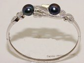 ssb149 Freshwater Pearl Sterling Silver Cuff Bangle Bracelet