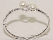 ssb150 Freshwater Pearl Sterling Silver Cuff Bangle Bracelet