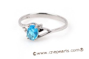 SZR003 Sterling Silver Blue CZ Ring