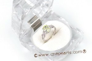 SZR005 Sterling Silver Oval Green CZ Ring