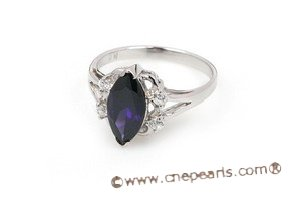 SZR009 Sterling Silver Purple Marquise CZ Ring