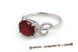 SZR011 Simple Oval wine red CZ Ring