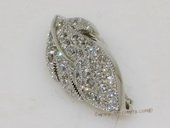 Snc164 shiny sterling silver zircon leaf clasp for jewelry making