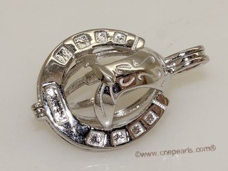 Swpm017 925 Sterling Silver Horseshoe Shape Cage Pendant