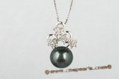 thpd048 Sweeting style Sterling silver 11.5-12mm Tahitian black Pearl & Swarovski CZ&#39s Pendant