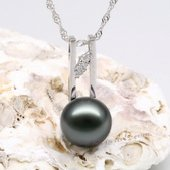 thpd055 Deco Collection Tahitian black Pearl  sterling silver pendant
