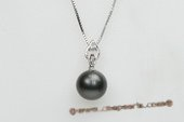 thpd059 Romance Collection tahitian black Pearl & Swarovski CZ&#39s Pendant