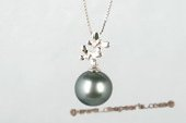 thpd068  HAPPY 925 silver CLOWN PENDANT with 11-12mm Black Tahitian Pearl Pendant