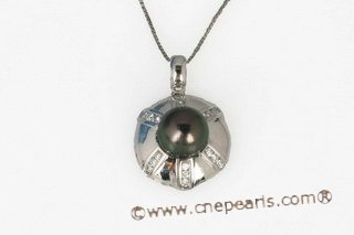 thpd073 Black Pearl Pendant with sparkling Cz Diamonds in 925 sterling silver