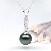 thpd075 gorgeous  12-13mm  Round tahitian Pearl Pendant in 925 sterling silver