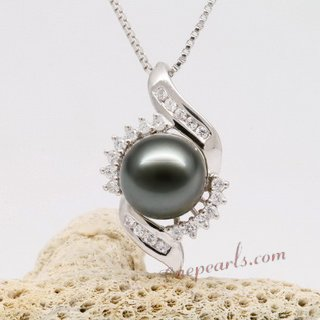 thpd079 9-10mm Tahitian  Pearl Pendant in 925 sterling silver with  a Tiny Cz