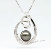 thpd081 circle styled 9-10mm Round tahitian Pearl Pendant