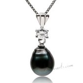 Thpd112 Newest 925Silver 9-10mm Baroque Black Tahitian Pendant