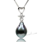 Thpd116 Fashion Heart shape 925Silver Pendant with 9-10mm Baroque Tahitian pearl
