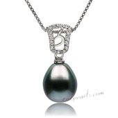 Thpd118 Sterling silver Pendant with 9-10mm Drop shape Tahitian pearl