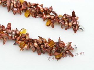 Tpn222 Three Strands Brown Freshwater Blister Pearl & Crystal Twisted Necklace